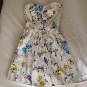 Betsey Johnson cream butterfly sweetheart dress 4